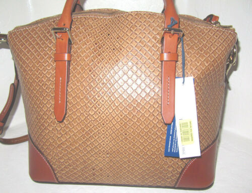 Dooney /& Bourke Tan /& saddle Python Embossed Leather Domed Satchel Bag NWT $328