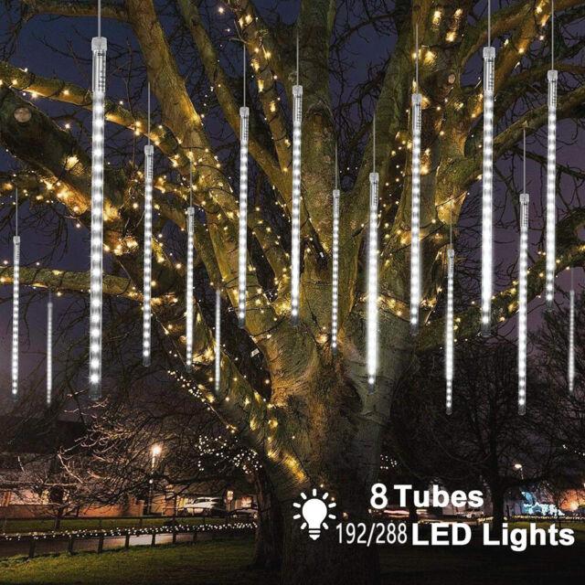 LED Fairy Light Meteor Icicle Snowfall Rain Tubes Christmas Tree Outdoor Garden