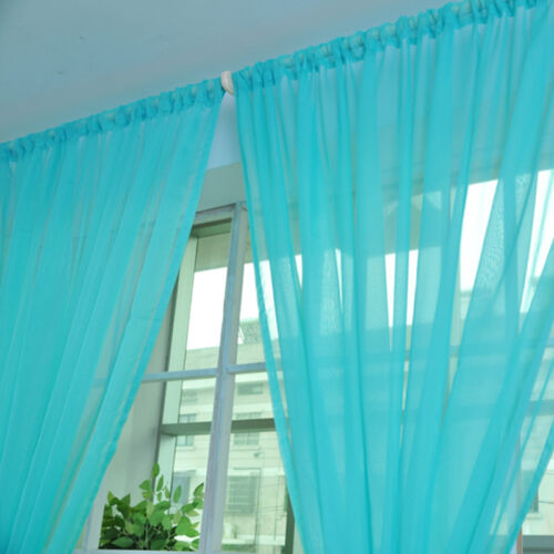 2PZ Tulle Voile Window Curtain Solid Drape Panel Sheer Scarf Valances Home Decor