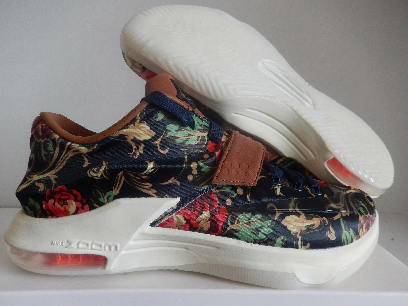 NIKE KD VII EXT FLORAL QS BLUE-HAZELNUT BROWN Price reduction Comfortable and good-looking