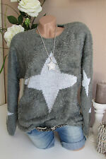 PLÜSCH Pullover Sterne STRICK PULLI Grau Weiß 36 38 40 Oversize BOHO Warm