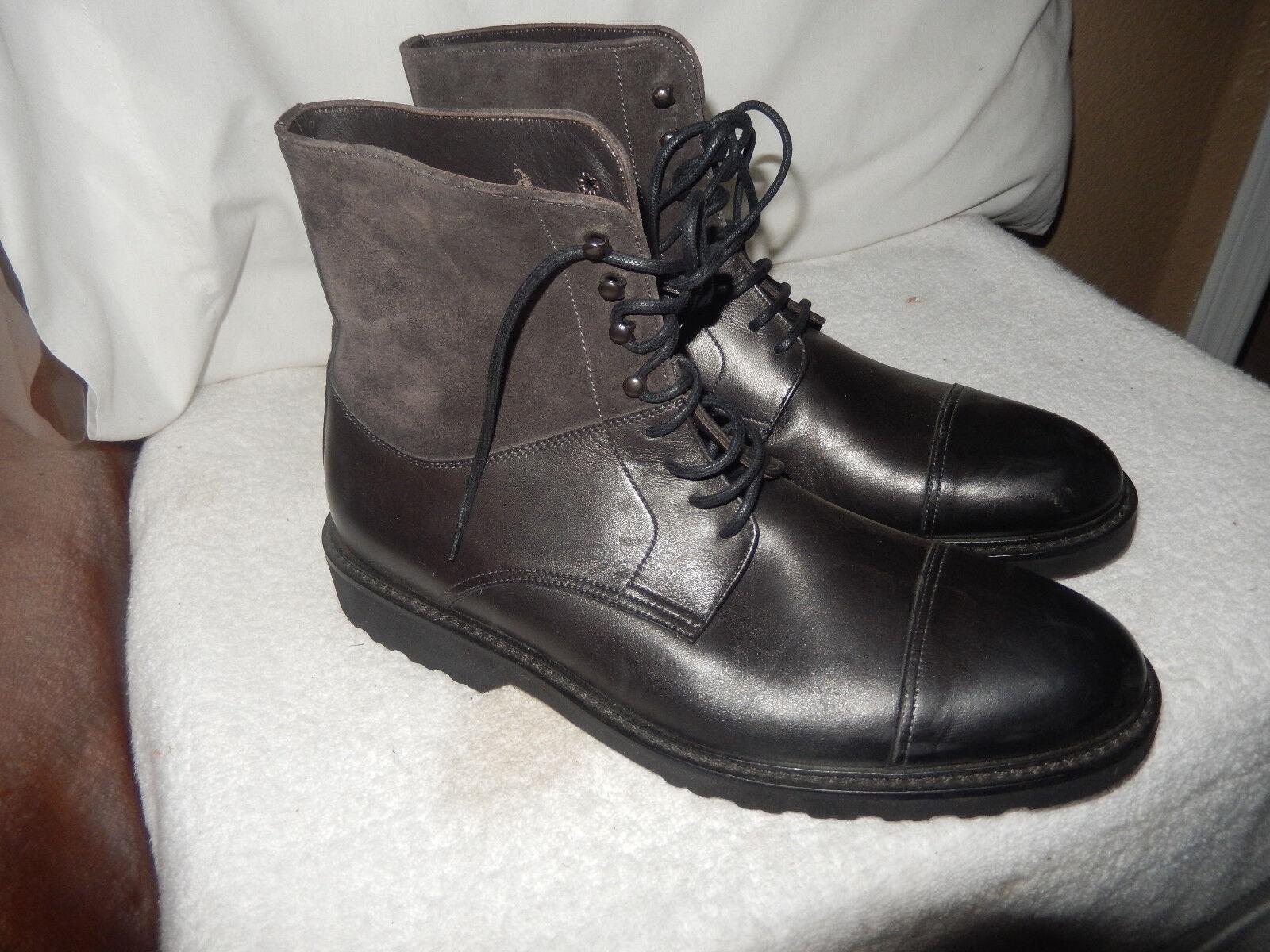 Nuevo para arrancar Nueva York Piel De Becerro Negro Puntera botas acordonadas Italiano