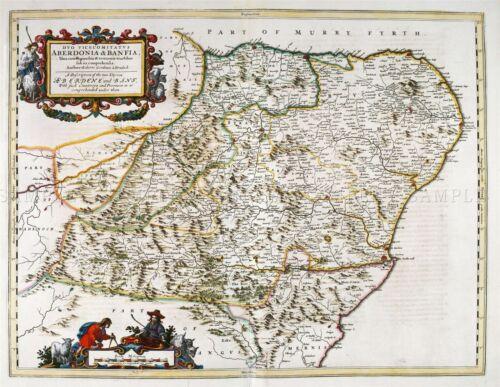 MAP ANTIQUE BLAEU SCOTLAND 1654 ABERDEEN BANFF LARGE REPRO POSTER PRINT PAM0583