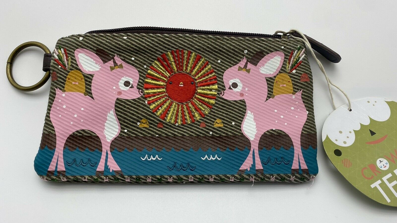 Crowded Teeth Zipper Wallet Pink Deer Sun Coin Purse Bag Clutch Pouch Loungefly