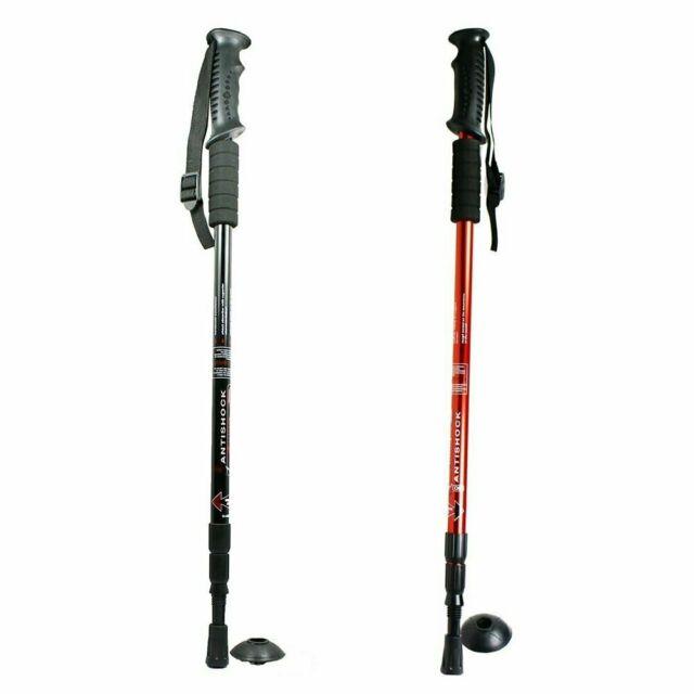 Telescopic Trekking Walking Hiking Sticks Poles Adjustable Length Anti-Shock