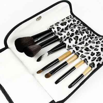 7 PCS Makeup Brush Set Eyebrow Pencil Lip Liner Leopard Holder Bag for women