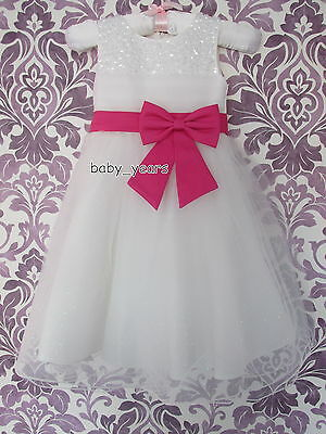 GIRLS TULLE IVORY PINK BOW DRESS BRIDESMAID WEDDING FLOWER GIRL CHRISTENING NEW