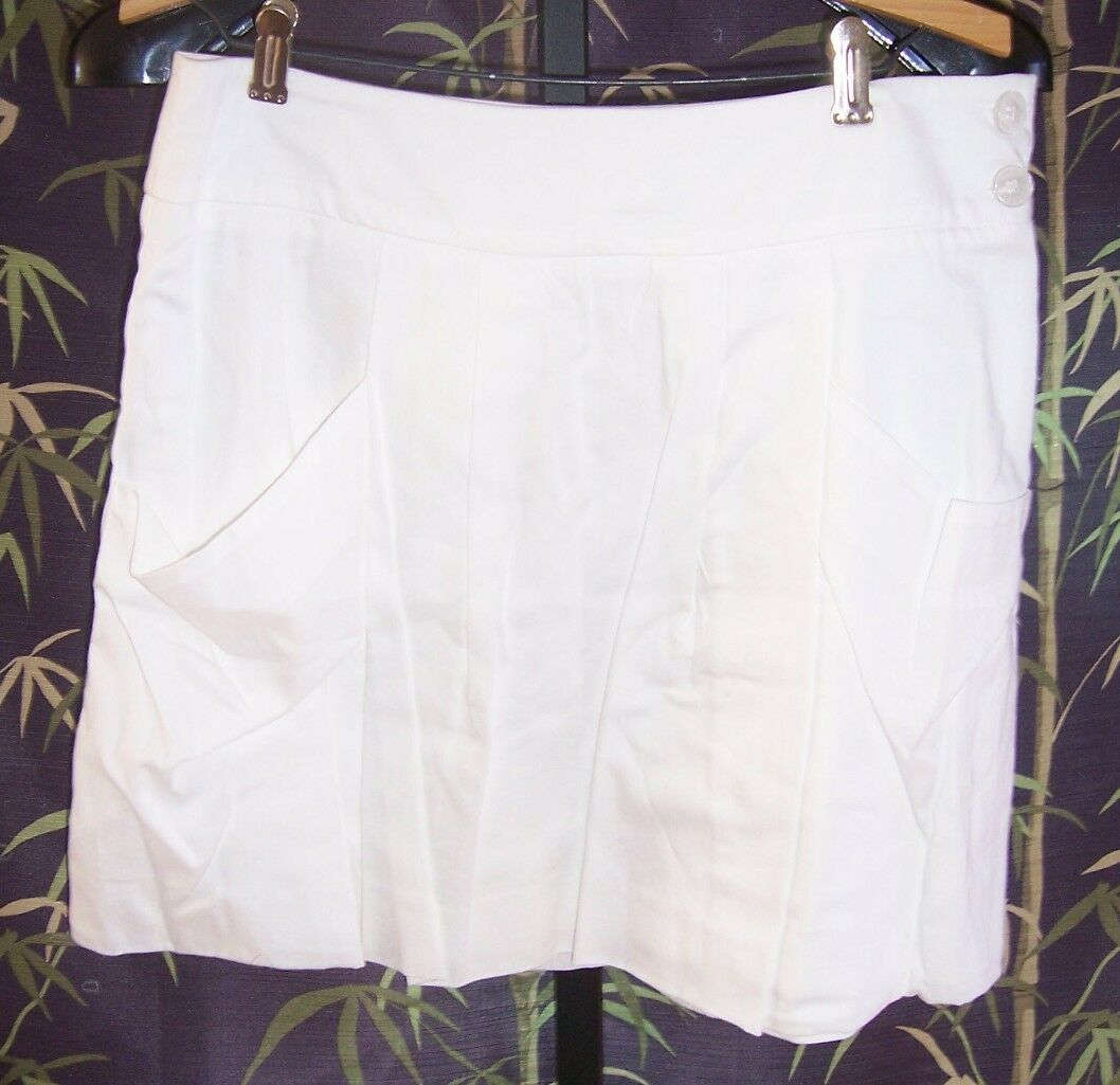 NWT Lacoste White Cotton Pleated Skirt  Misses Size 40 (8)