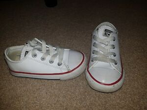Clothing, Shoes & Accessories Strict Kids White Leather Converse infant 7