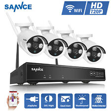 SANNCE 720P 4CH NVR Wireless WIFI IP Network Camera Outdoor Home Security System