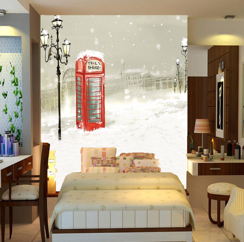3D Snow Phone Booth 86 Wall Paper Murals Wall Print Wall Wallpaper Mural AU Kyra
