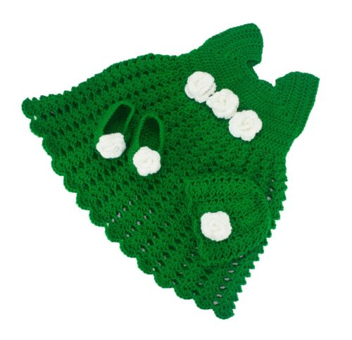Baby Girl Dress Frock Set bootie hat 1-2 years hand knitted Merino Wool Luxury