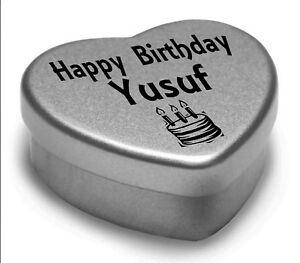 Détails Sur Joyeux Anniversaire Yusuf Mini Coeur Tin Cadeau Pour Yusuf Avec Chocolats Afficher Le Titre Dorigine