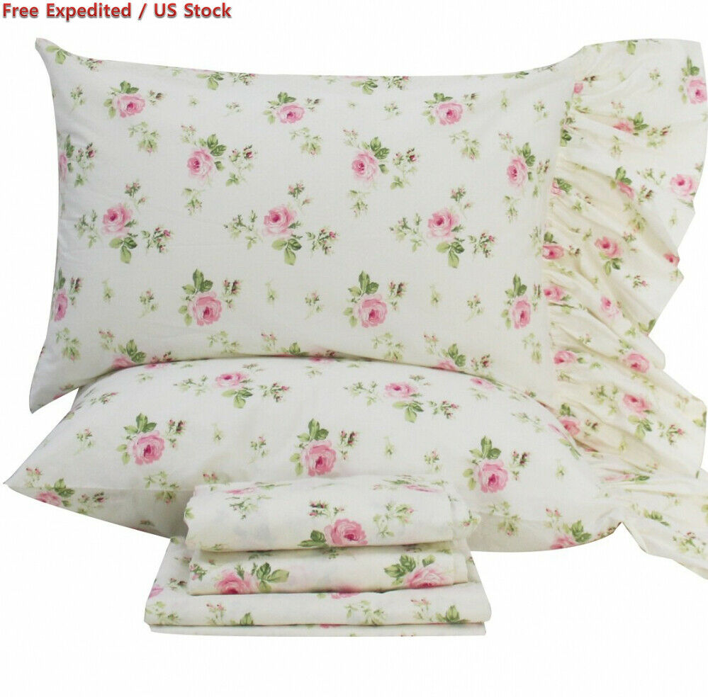 Queen's House pink Floral Pillowcases Shams Queen Set of 2, Twin Full Queen,...