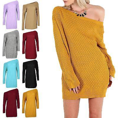 Womens Ladies Diamond Cable Knit Off The Shoulder Bardot Baggy Mini Jumper Dress Spezieller Sommer Sale