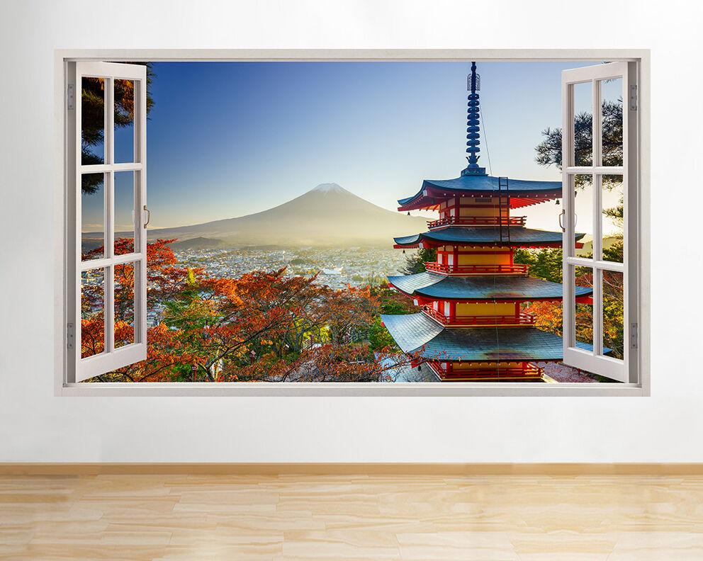 H415 Castillo japonés Monte Fuji pared pegatina pared vinilo 3d habitación niños
