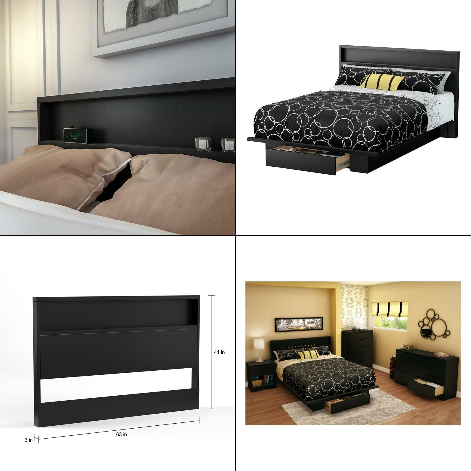 Holland Full Queen Size Headboard In Pure Black Storage Shelf Bed Modern With