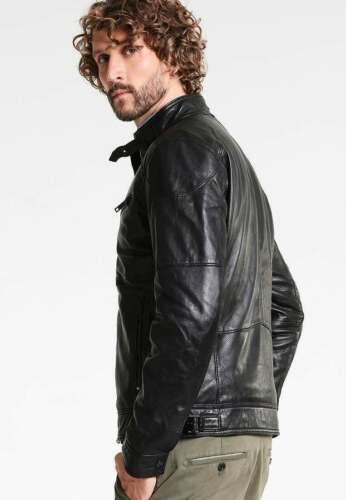 Men Black Leather Jacket Biker Pure Lambskin Leather Coat Size XS S M L XL XXL