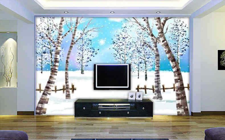 3D Schneelandschaft Baum 94 Tapete Wandgemälde Tapete Tapeten Bild Familie DE