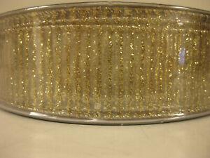 Holiday-Ribbon1-5-034-X-50-Yd-Gold-Glitter-Stripe-NEW-Members-Mark-Premium-Wired