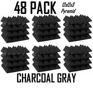 Acoustic-Foam-Pro-Pack-48-Charcoal-Gray-Pyramid-Studio-Soundproof-Tiles-12x12x3-034