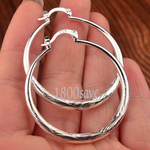 Twinkle Circle Fashion 925 Sterling Silver 1.5 inch Hoop Earrings Jewelry A904