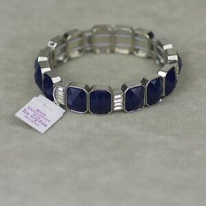 Lia-sophia-signed-jewelry-stretch-tennis-link-bangle-bule-cut-crystal-bracelet