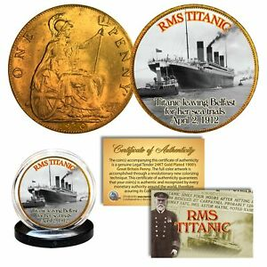 RMS TITANIC * Sea Trials * Colorized 1900's Gold Clad Great Britain Penny Coin