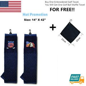 Embroidered-Tri-fold-Golf-Towel-16-034-X-22-034-With-Free-Ball-Waffle-Towel-USA-Eagle