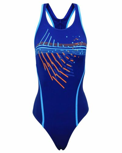 Fashy Badeanzug Blau Orange Aquafeel 2001 Nr.13 Damen Schwimmanzug wählbar Gr