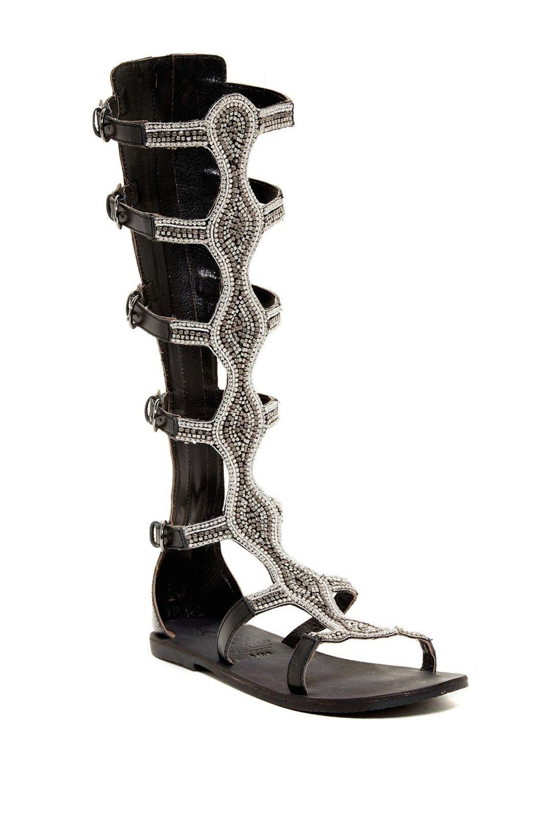 REBELS Velocity High Back Leather Gladiator Beaded Sandals Sandals Sandals Black Sz 6  179 NIB 172574