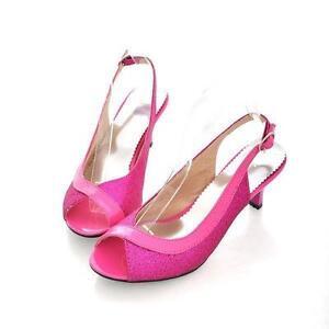 Sandals-Women-kitten-heel-peep-toe-slingback-Buckle-Sparkle-party-pumps-shoes-SZ