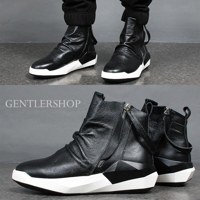 Mens fashion Shirring Leather High Top Double Zipper Turnschuhe 171A-2,GENTLERSHOP