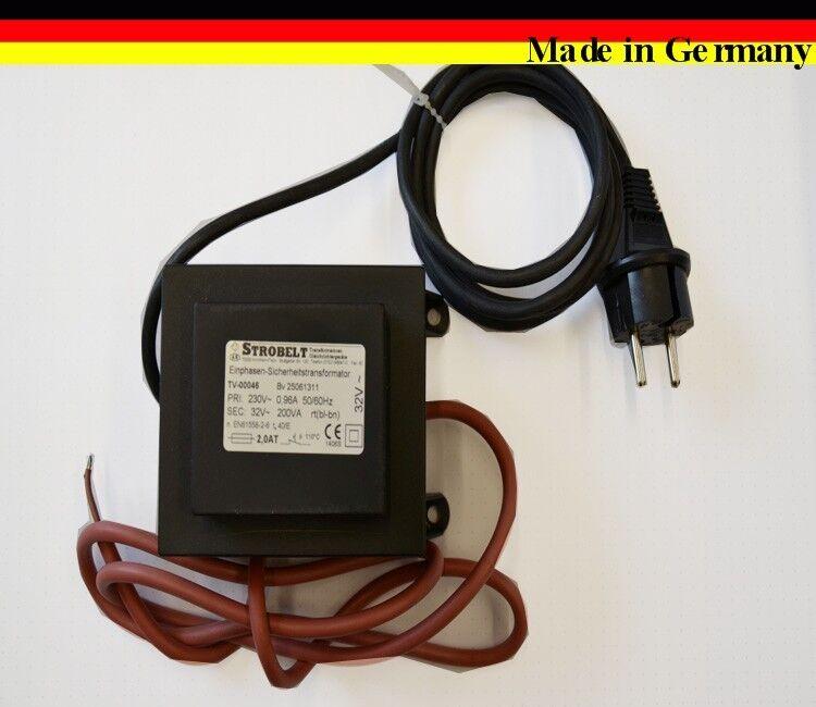 Transformator Strobelt Trafo Einphasentransformator 200VA 32V IP44 Feinsicherung