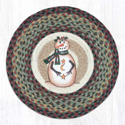 """SNOWMAN BRAIDED HAND PRINTED JUTE CHAIR PADS SETS--15.5/"""" ROUND WITH TIES"""