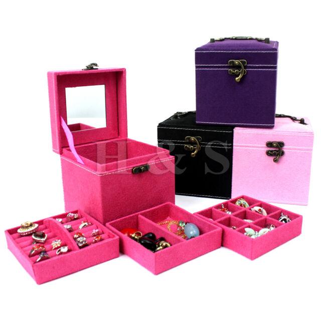 CUBE Ring Necklace Bracelet Jewellery Display Storage Vintage Box Case Organiser