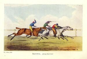 Image Is Loading HORSE RACING JOCKIES WHIPPING AND SPURRING HORSES ANTIQUE