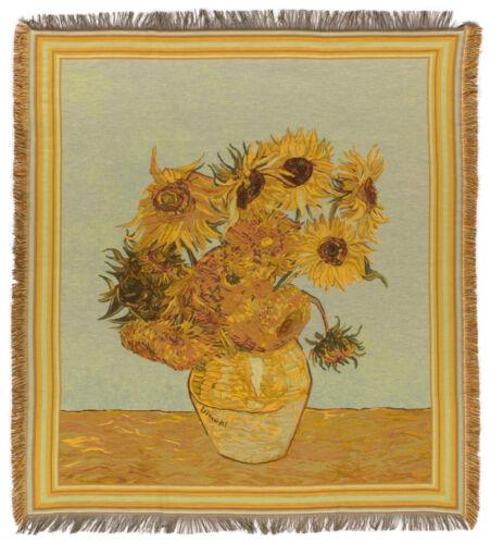 Belgian Tapestry Throw Van Gogh Throw Blanket Sunflowers Tapestry Throw