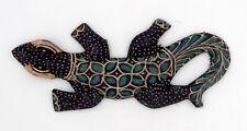 Gecko margouillat salamandre lézard en bois et batik art Java Indonésie N°20