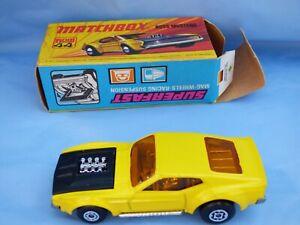 Vintage-Matchbox-Superfast-N-44-en-Caja-1972-Boss-Mustang-Amarillo-Juguete-Diecast-Car