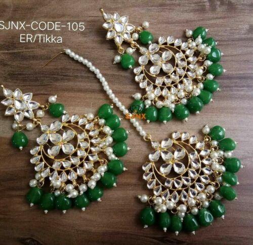 Ethnique Bridal Kundan Green Pearl Earring Tikka Fashion Jewelry Set Indian ES
