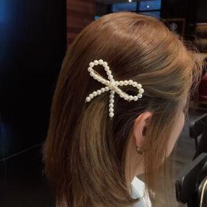 Pince-A-Cheveux-Perle-Bow-Barrette-Baton-epingle-Femme-Fille-Bijoux-Accessoire