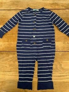 Mini-Topshop-Blue-amp-White-Nautical-Striped-Babygrow-Gold-Button-Age-6-12-Months