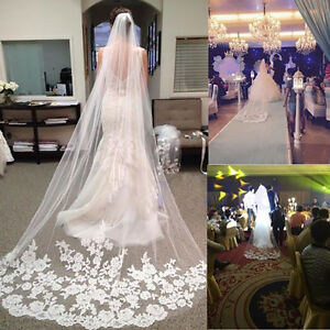 3 M White Ivory Cathedral Length Lace Edge Bride Wedding Bridal Long Veil Comb