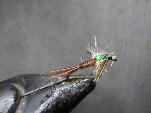 1 Doz Bead Head Flash Back Pheasant Tail Mayfly Nymph Flies Free Box