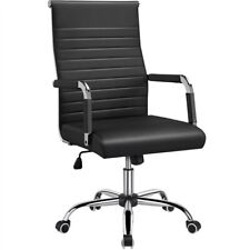 Pu Leather Office Chairs High Back Ribbed Executive Chair Task Chairs Black