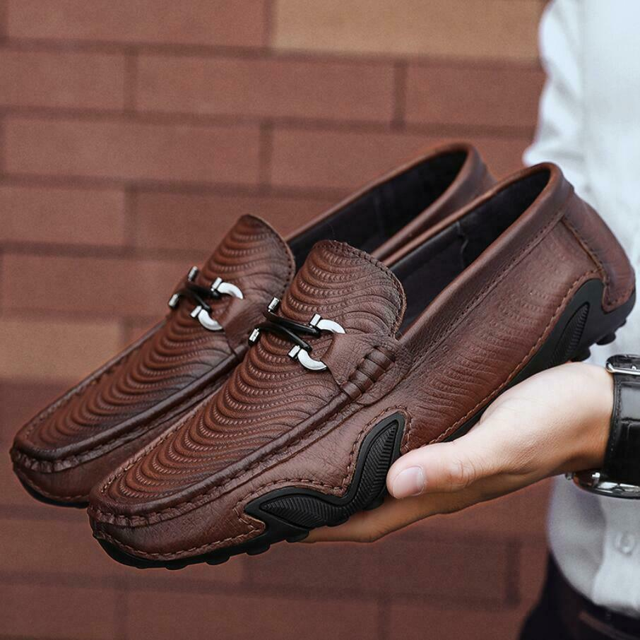 New Mens alligator Real Leather shoes Breathable Antiskid Loafers Moccasins Size