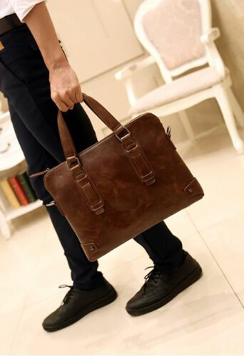 Men/'s Leather Business Handbag Shoulder Messenger Bag Briefcase Laptop Bag Brown