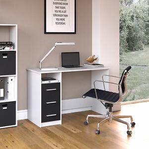 vicco schreibtisch arbeitstisch b rotisch pc tisch b ro schublade wei schwarz ebay. Black Bedroom Furniture Sets. Home Design Ideas