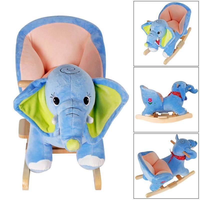 Kinder Schaukelpferd Schaukeltiere Schaukeltier Stuhl Schaukel Plüsch ElefantTon